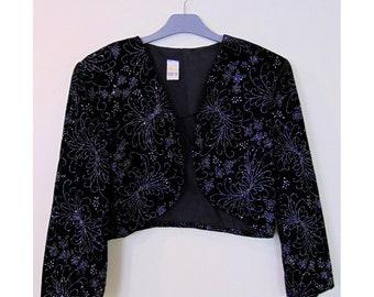 Vintage 80s Sparkly Glam Rock Eighties Disco Shoulder Pads Glittery Party 1980s Black Velvet Evening Jacket