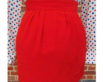 Vintage Mini Skirt, 80s Skirt, Wool Skirt, Mod Skirt, Plain Red Skirt, Short Skirt, Casual Skirt, Gogo Skirt, Go Go, Disco, Glam Rock