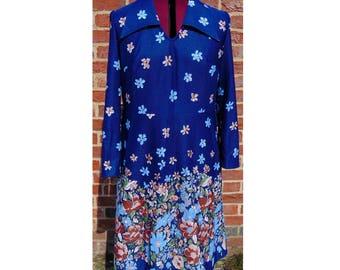 Vintage 70s Dress, Floral Dress, Boho Dress, Hippie Dress, Hippy Dress, Gypsy Dress, Psychedelic Dress, Glam Rock, Floral, Blue Dress