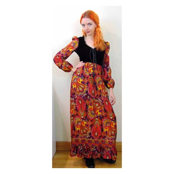 Vintage 60s Psychedelic Dress // 70s Maxi Dress //