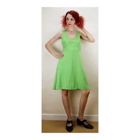 Vintage 60s Halter Neck Dress // 70s Sleeveless Dr