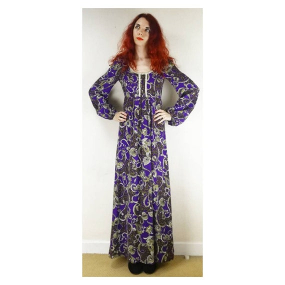 Vintage 60s Psychedelic Dress // 70s Paisley Maxi