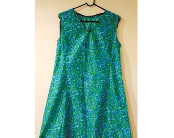 Vintage Psychedelic Dress, 60s Dress, Psych Dress, Hippie Dress, Hippy Dress, Mod Dress, Damask, Sixties Dress, Flower Power, Woodstock
