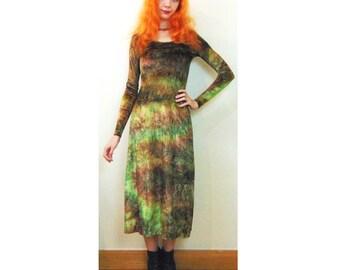 Retro Midi Dress, Crushed Velvet, Tie Dye, Grunge Dress, Hippie Dress, Hippy Dress, Goth Dress, Psychedelic Dress, Folk Dress, Boho Dress
