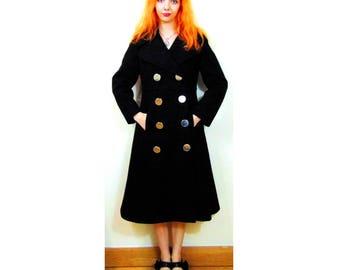 Vintage Black Coat, Double Breasted Coat, 60s Coat, 70s Coat, Mod Coat, A Line Coat, Felt Coat, Large Buttons, Glam Rock, Dandy Coat