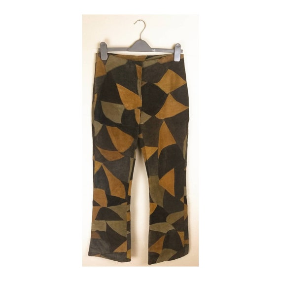 Vintage 90s Suede Trousers // Patchwork Suede Flar