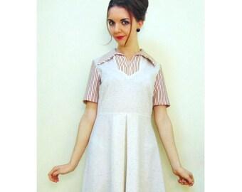 Vintage Mod Dress, 60s Dress, 70s Dress, Northern Soul Dress, Scooter Dress, Pleated Skirt, Striped Dress, Flecked Dress, Cream Dress