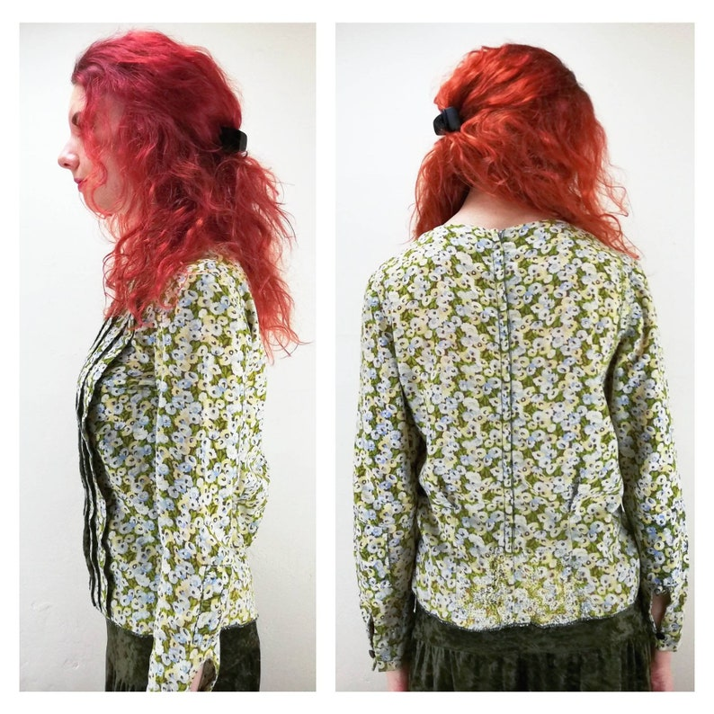Vintage 50s Floral Blouse  60s Cuff Sleeve Blouse  70s Pleated Blouse  Zip Up Back  Hippie Blouse  Boho Blouse  Gypsy Blouse