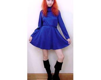 Vintage Blue Dress, 60s Dress, 70s Dress, Gogo Dress, Go Go, Glam Rock, Disco Dress, Mod Dress, Mini Dress, Long Sleeved Dress, High Neck