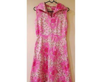 Vintage Rockabilly Dress, Pink Dress, 80s Dress, 90s Dress, Floral, Ditsy, 50s Style, 50s Inspired, Large Collar, A Line Dress, Boho Dress