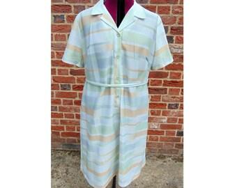 Vintage Day Dress, Mod Dress, Rockabilly Dress, Shirt Dress, 1960s, Sixties Dress, 60s Dress, Striped Dress, Button Up Dress, Scooter Dress