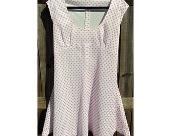 Vintage Polka Dot Dress, 60s Dress, 70s Dress, Mod Dress, Dotty Dress, Purple Spotted Dress, Spotty Dress, Scooter Dress, Sleeveless Dress