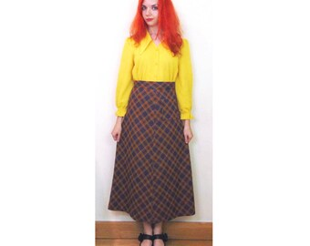Vintage A Line Skirt, 60s Skirt, Maxi Skirt, Mod Skirt, Northern Soul Skirt, Checked Skirt, Rockabilly Skirt, Jersey Skirt, Tartan Skirt