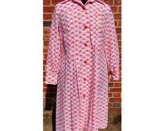 Vintage Geometric Dress, 70s Dress, Shirt Dress, Mod Dress, Scooter Dress, Day Dress, 1970s Dress, Seventies Dress, Button Up Dress