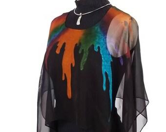 0bcf5c1cf Bucket O' Paint, Hand Painted Silk Poncho