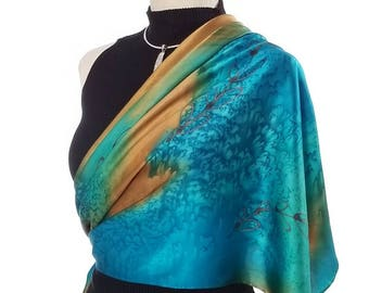 af7e4fb7a Golden Shoots - Luxury Hand Painted Silk Scarf