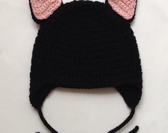 Crochet Little Black Kitty Hat with Earflaps