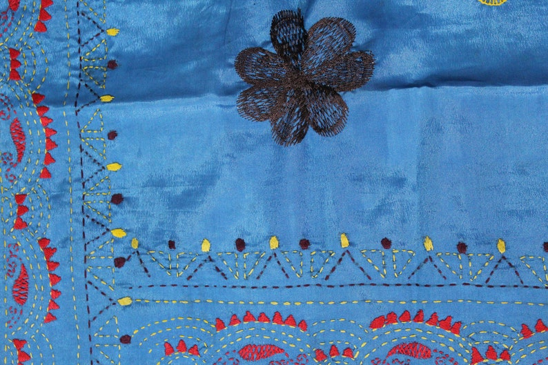 RAB85 Indian Beautiful Vintage Art Silk Saree Thread work Sarong Drape  Decorative Fabric Antique Art Craft Saree 5Yard