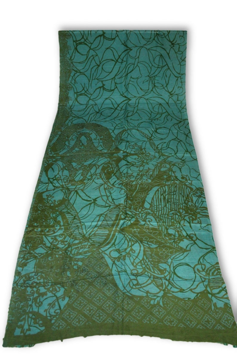 RAB306 Traditional Vintage Indian Pure Silk Saree Fabric Printed Work Clothing Sarong Wrap Craft Decor Women Home Dress Sari 5yd