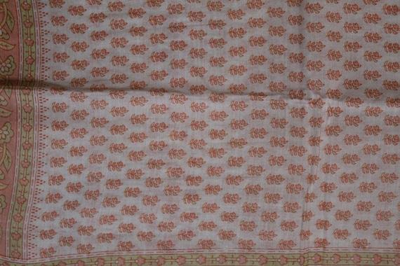 Antique Vintage Sari Cotton Saree Fabric Printed Work Clothing Sarong Wrap Craft Decor Women Home Dress Sari 5yd-RPD97
