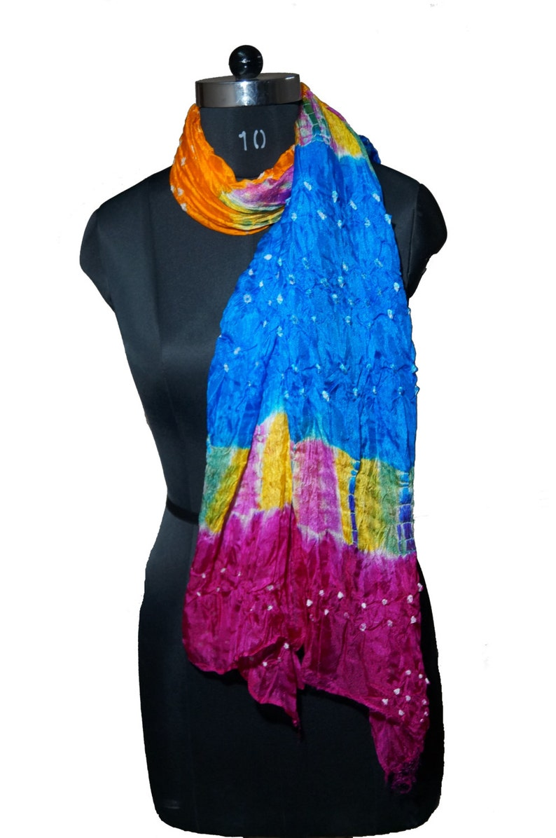 PIC756 FREE SHIPPING Indian Vintage Fashion Bandhani Scarf Stole Art Silk for Women Light Weight scarf Long Scarf