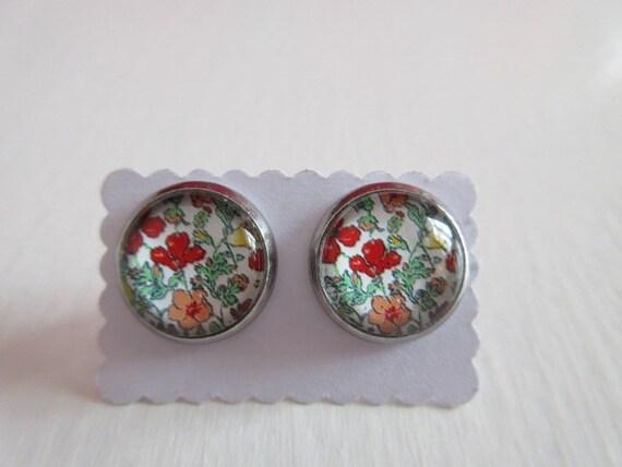 4 Blumen-Glas-Cabochons 20mm