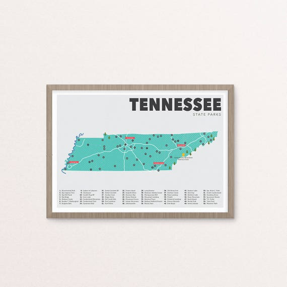 State Parks Tennessee Map.Tennessee State Park Map Tennessee State Parks Map Outdoors Etsy