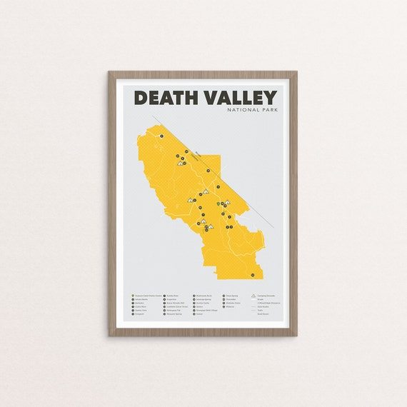 Death Valley National Park Map Death Valley Outdoors Print Etsy
