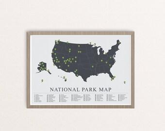 US National Parks Map, American National Park Print, Outdoors print, Explorer Wall Print