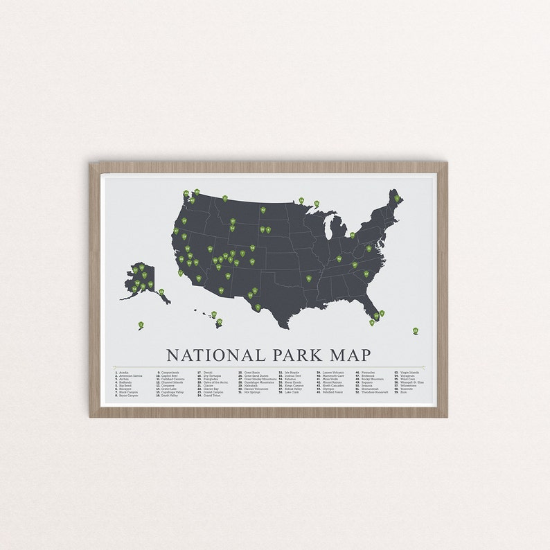 US National Parks Map American National Park Print Outdoors   Etsy