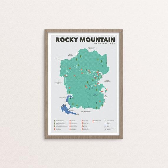 Rocky Mountain Nationalpark Karte, Rocky Mountains, Outdoor-Druck, Explorer  Wanddruck