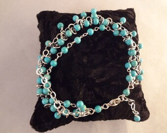Hand Made, One Of A Kind Sterling Silver and Natural Turquoise Bracelet by Rachel Sowinski at The Gift Itself