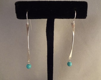 Sterling Silver, Hand Made Earrings with Natural Turquoise by Rachel Sowinski at The Gift Itself
