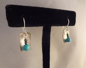 Hand Made Sterling Silver Earrings with Natural Turquoise by Rachel Sowinski at The Gift Itself