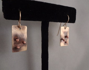 Brass Earrings with Copper Dots and Gold Filled French Hook Ear Wires By The Gift Itself