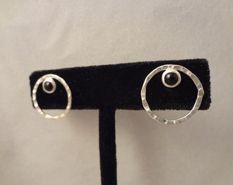 Hand Made, Sterling Silver Post Earrings with Natural Black Onyx by Rachel Sowinski at The Gift Itself