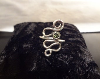 Hand Made One of a Kind Sterling Silver Ring with Natural Green Tourmaline by Rachel Sowinski at The Gift Itself