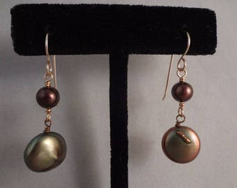 Hand Made Gold Filled and Brass Earrings with Green And Purple Freshwater Pearls by Rachel Sowinski at The Gift Itself