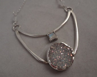 Sterling Silver Pendant with Natural Rainbow Moonstone and Druzy Quartz by The Gift Itself