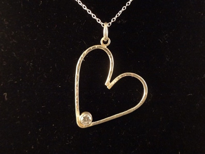 Sterling Silver Hammered Heart Pendant with Cubic Zirconia image 0