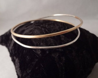 Hand made, Sterling Silver and Brass Double Wrap Around Bangle Bracelet by Rachel Sowinski at The Gift Itself