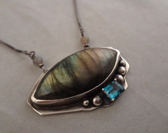 Hand Made Sterling Silver, Labradorite and Topaz Pendant