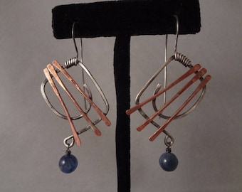 Hand Made Sterling Silver Earrings with Copper and Blue Kyanite by Rachel Sowinski at The Gift Itself