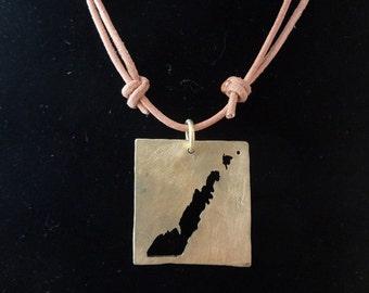 Door County Peninsula Pendant in Brass