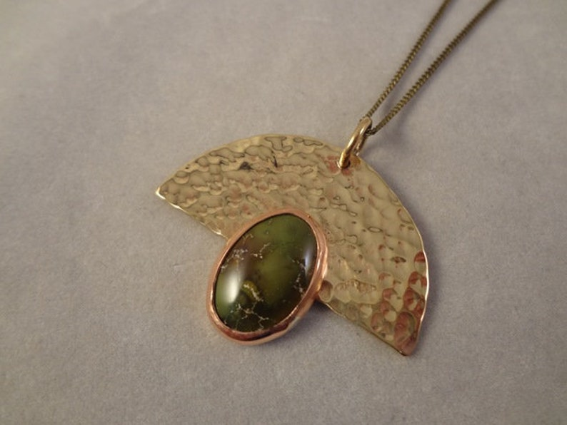 Hand Made Hammered Brass Pendant with Natural Turquoise Bezel image 0