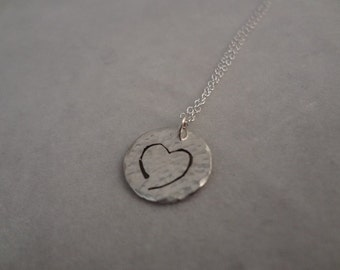 Sterling Silver Hammered Heart Pendant on Silver Cable Chain By The Gift Itself