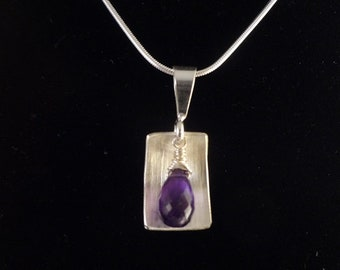 Sterling Silver and Natural Amethyst Pendant, Hand Made by Rachel Sowinski at The Gift Itself