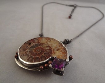 Hand Made Sterling Silver Ammonite and Amethyst pendant