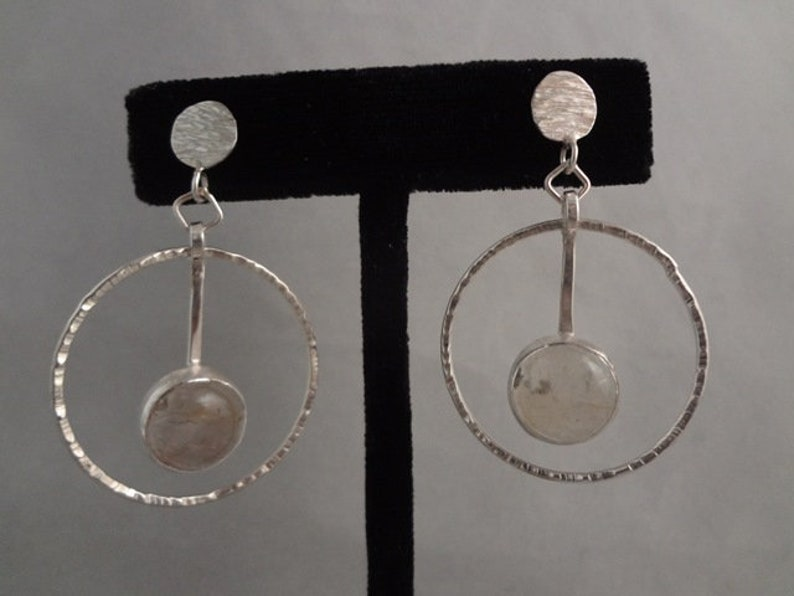 Hand Made Sterling Silver and Natural Rutilated Quartz Post image 0
