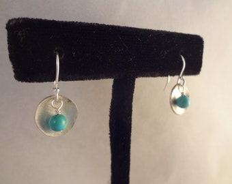 Hand Made Sterling Silver and Natural Turquoise Earrings by Rachel Sowinski at The Gift Itself